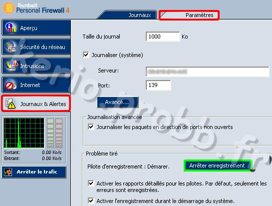 journaux et alertes sunbelt personal firewall 4.6